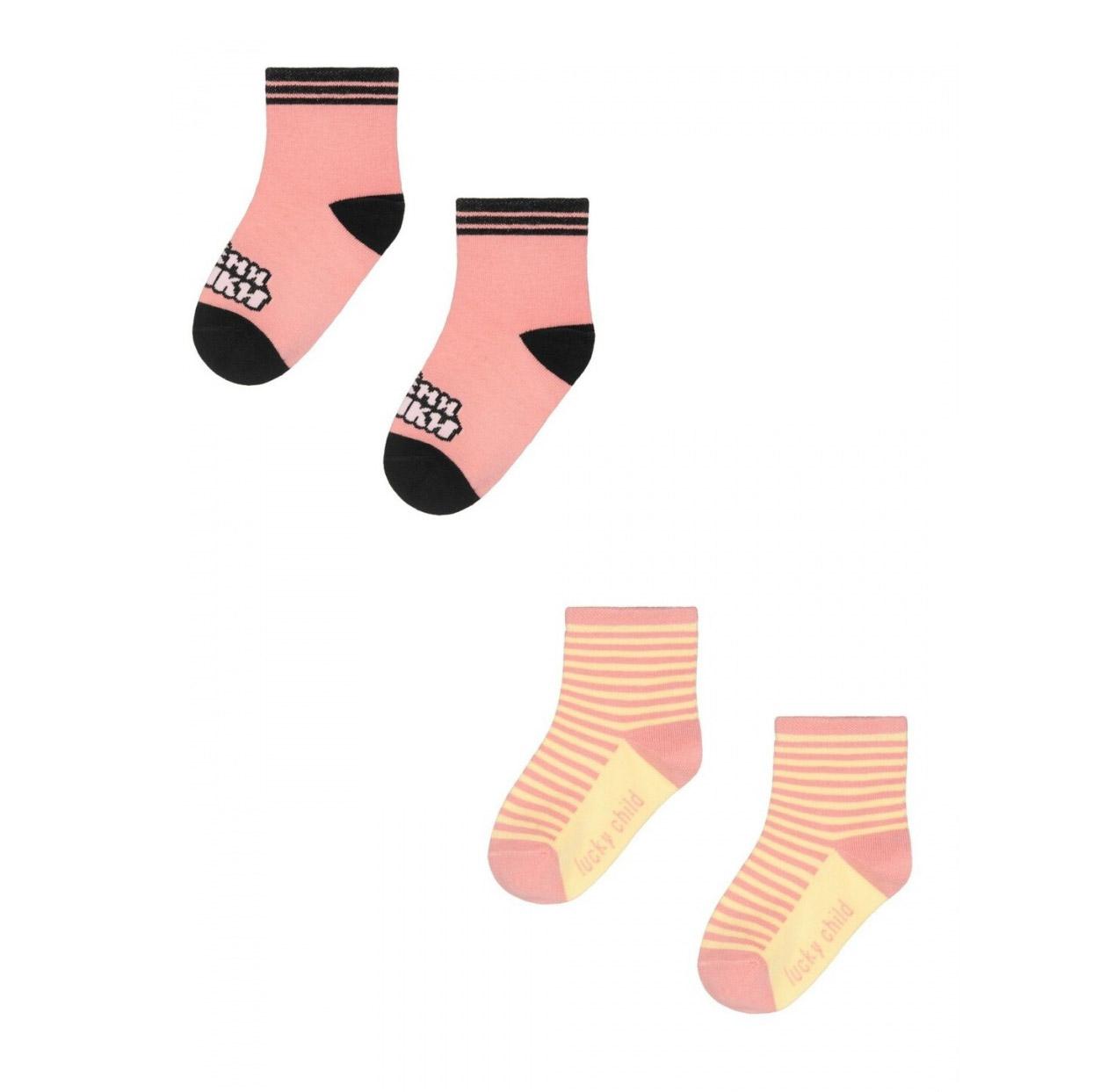 Купить Комплект носков Lucky Child МИ-МИ-МИШКИ розовый 2 шт 1214, Розовый, Кашкорсе, Для девочек, Всесезонный,