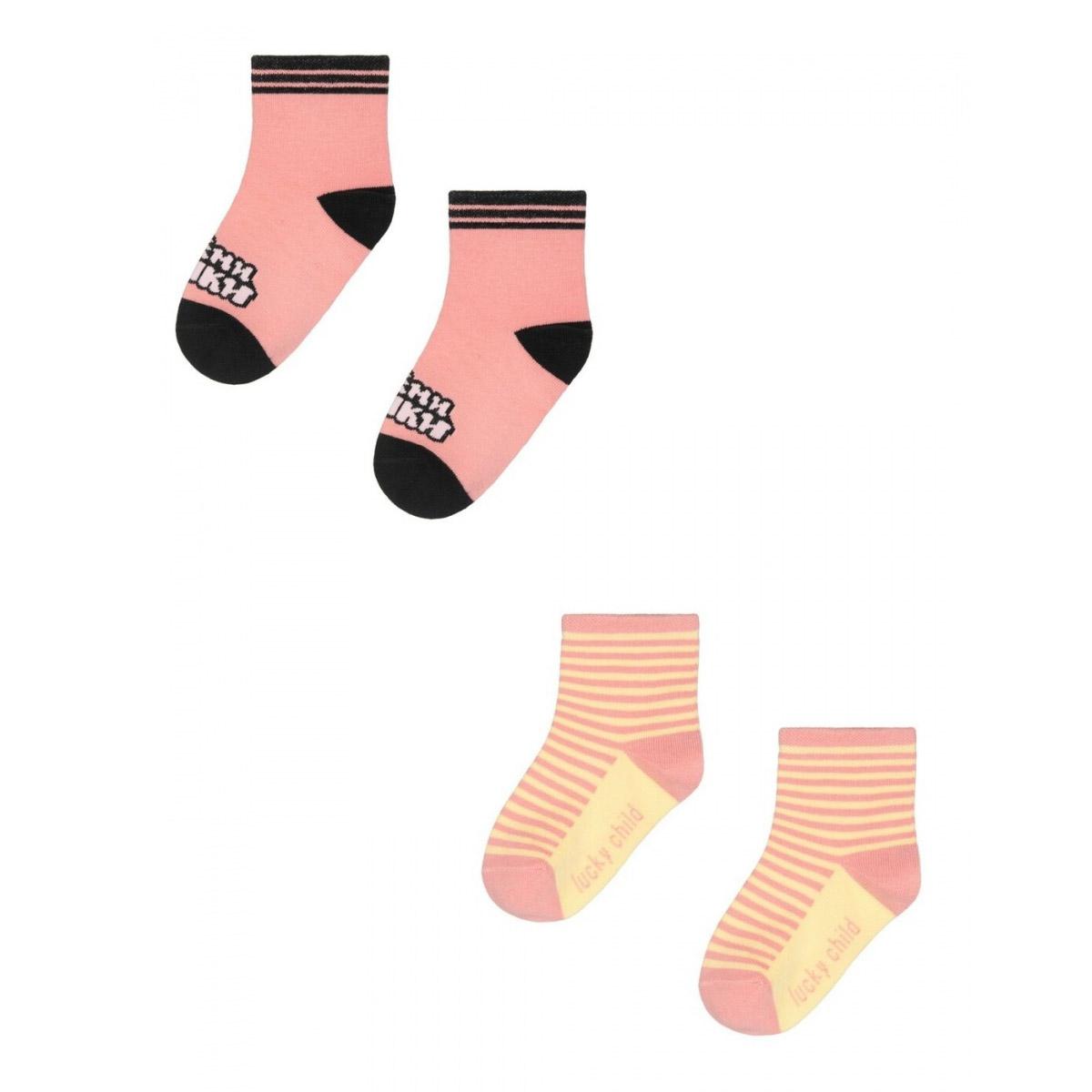 Купить Комплект носков Lucky Child МИ-МИ-МИШКИ розовый 2 шт 1416, Розовый, Кашкорсе, Для девочек, Всесезонный,