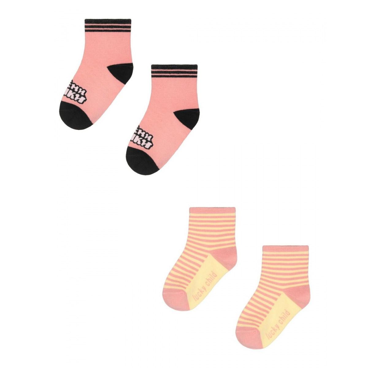 Купить Комплект носков Lucky Child МИ-МИ-МИШКИ розовый 2 шт 1618, Розовый, Кашкорсе, Для девочек, Всесезонный,