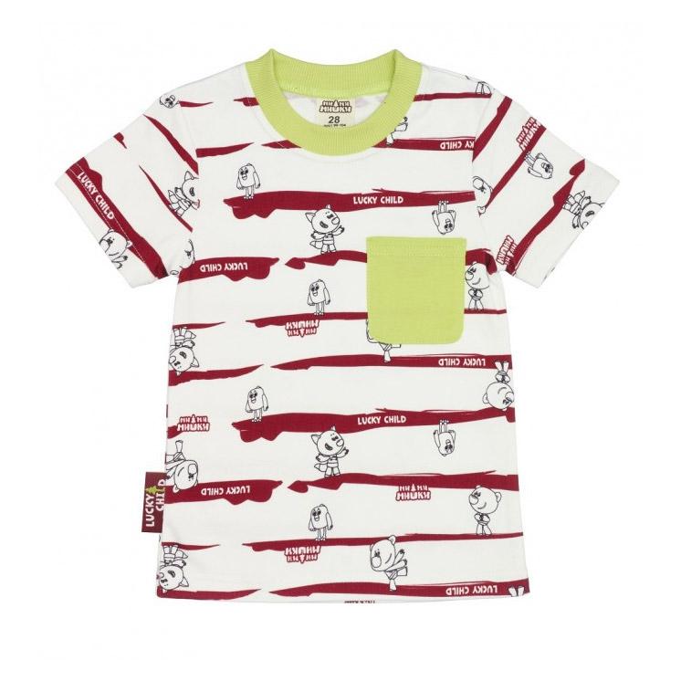 Фото - Футболка Lucky Child МИ-МИ-МИШКИ полосатый 92-98 пижама lucky child размер 28 92 98 полосатый