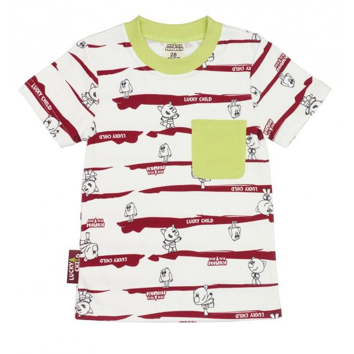 Купить Футболка Lucky Child МИ-МИ-МИШКИ полосатая 128-134, Разноцветный, Интерлок, Для детей, Всесезонный,
