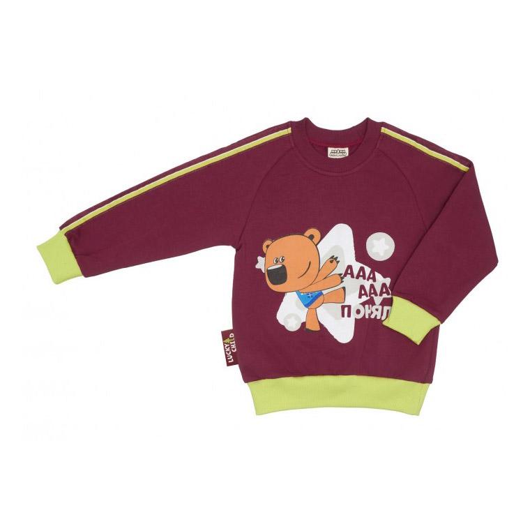 Купить Толстовка Lucky Child МИ-МИ-МИШКИ бордовая 104-110, Бордовый, Футер, Для детей, Осень-Зима,