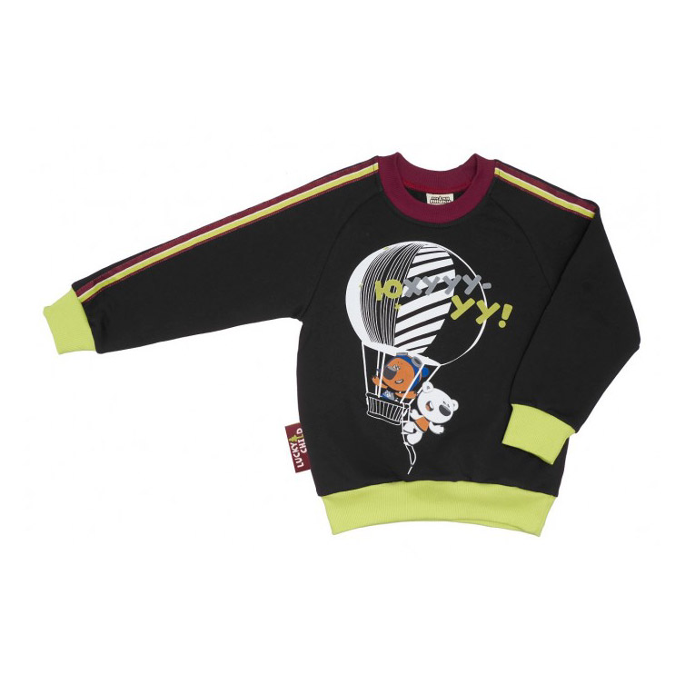 Купить Толстовка Lucky Child МИ-МИ-МИШКИ серая 98-104, Серый, Футер, Для детей, Осень-Зима,