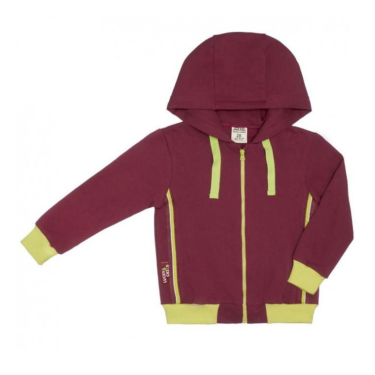 Куртка на молнии Lucky Child на молнии МИ-МИ-МИШКИ бордовая 92-98 фото
