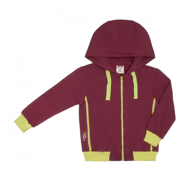 Купить Куртка на молнии Lucky Child МИ-МИ-МИШКИ бордовая 116-122, Бордовый, Футер, Для детей, Осень-Зима,