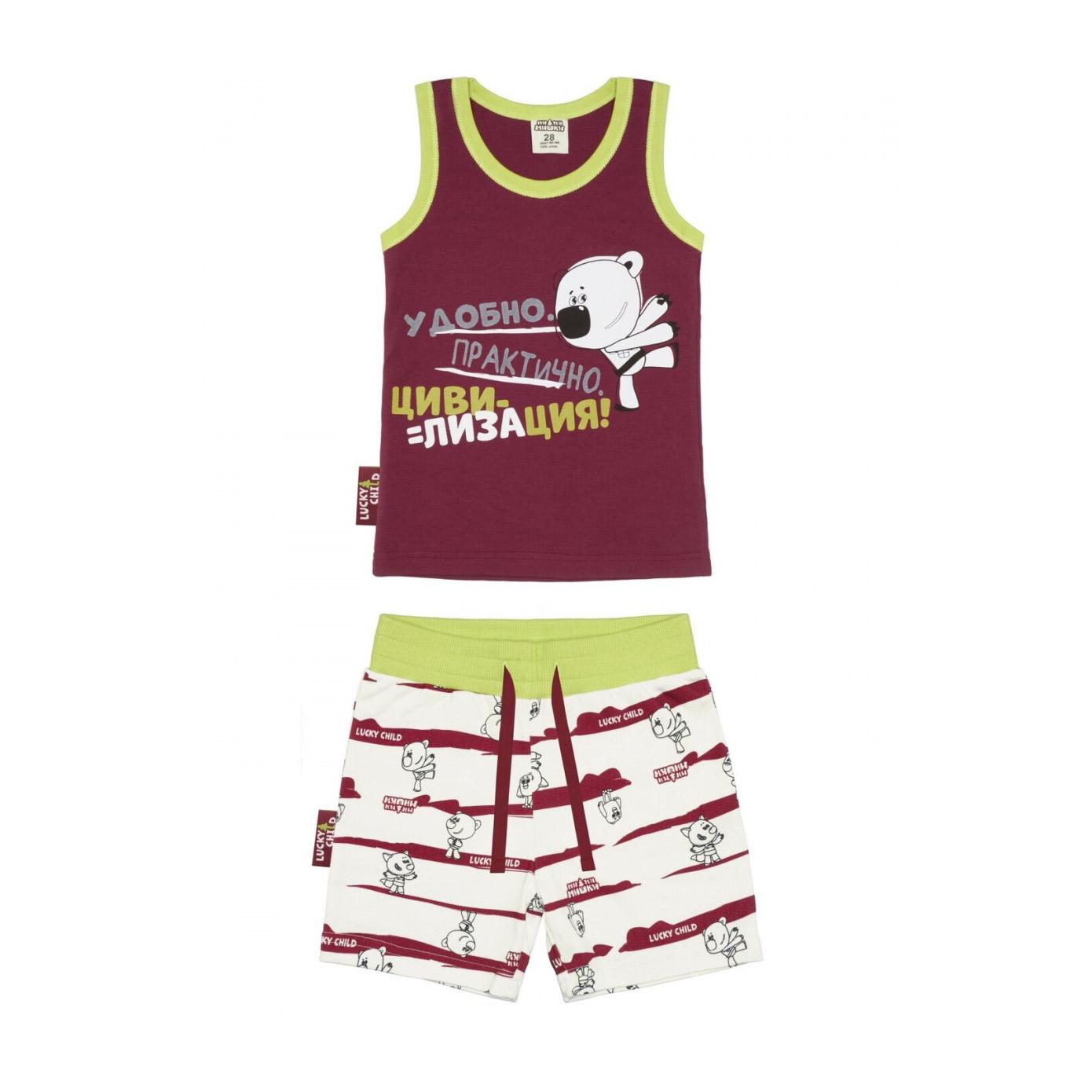 Купить Пижама с шортами Lucky Child МИ-МИ-МИШКИ бордовая 86-92, Бордовый, Интерлок, Для мальчиков, Всесезонный,