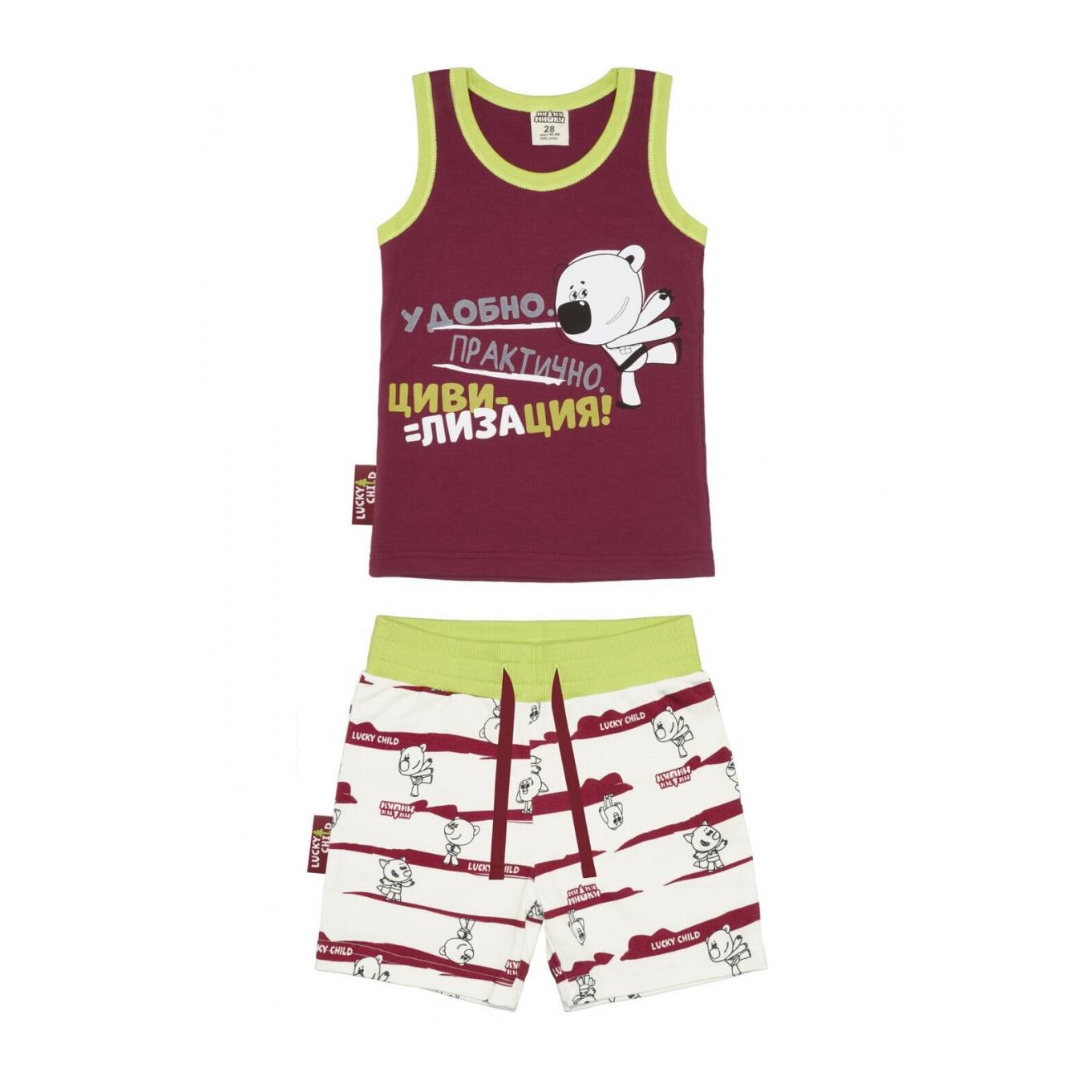 Пижама с шортами Lucky Child МИ-МИ-МИШКИ бордовая 110-116 фото