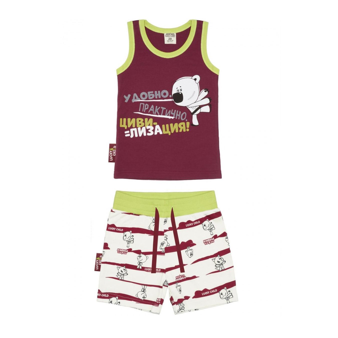 Купить Пижама с шортами Lucky Child МИ-МИ-МИШКИ бордовая 128-134, Бордовый, Интерлок, Для мальчиков, Всесезонный,