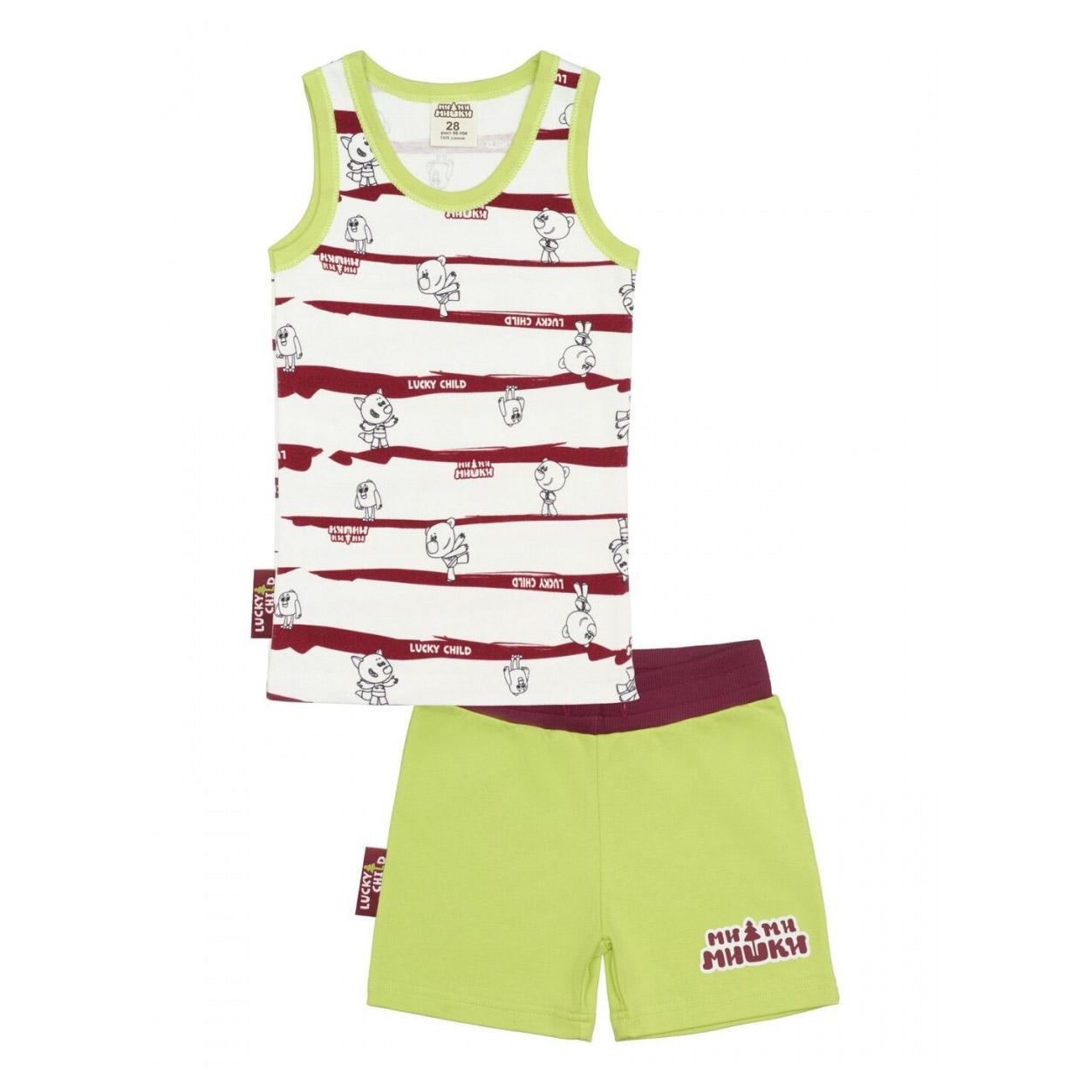 Купить Пижама с шортами Lucky Child МИ-МИ-МИШКИ полосатая 86-92, Разноцветный, Интерлок, Для мальчиков, Всесезонный,