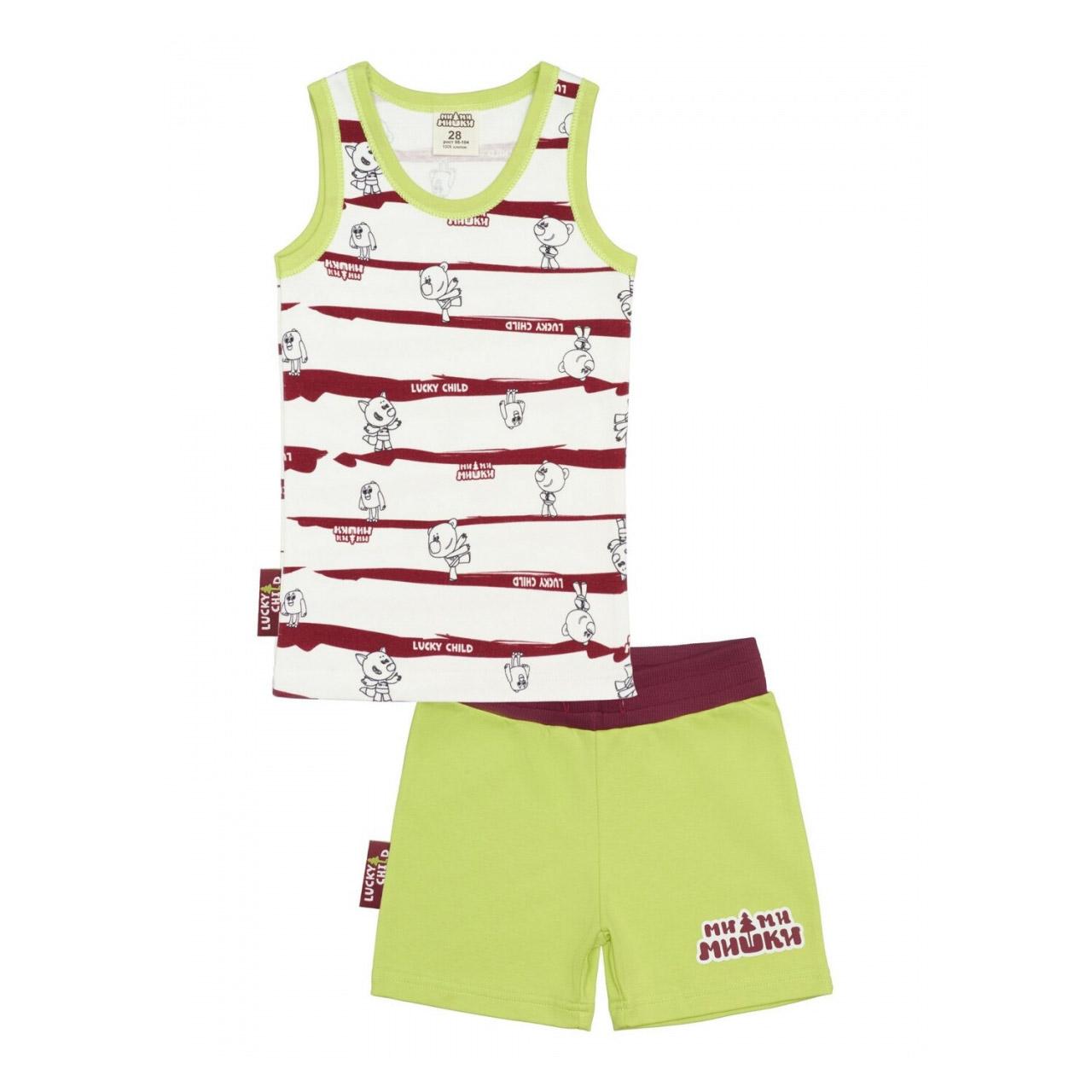 Купить Пижама с шортами Lucky Child МИ-МИ-МИШКИ полосатая 104-110, Разноцветный, Интерлок, Для мальчиков, Всесезонный,