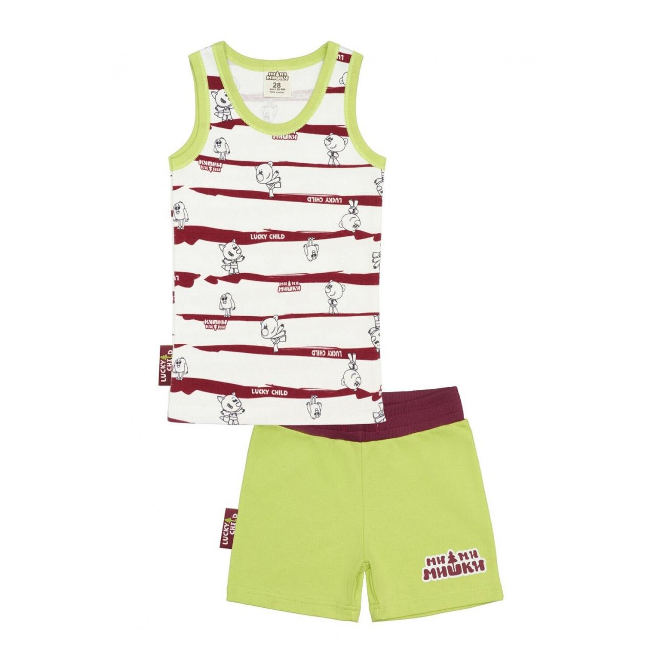 Купить Пижама с шортами Lucky Child МИ-МИ-МИШКИ полосатая 122-128, Разноцветный, Интерлок, Для мальчиков, Всесезонный,