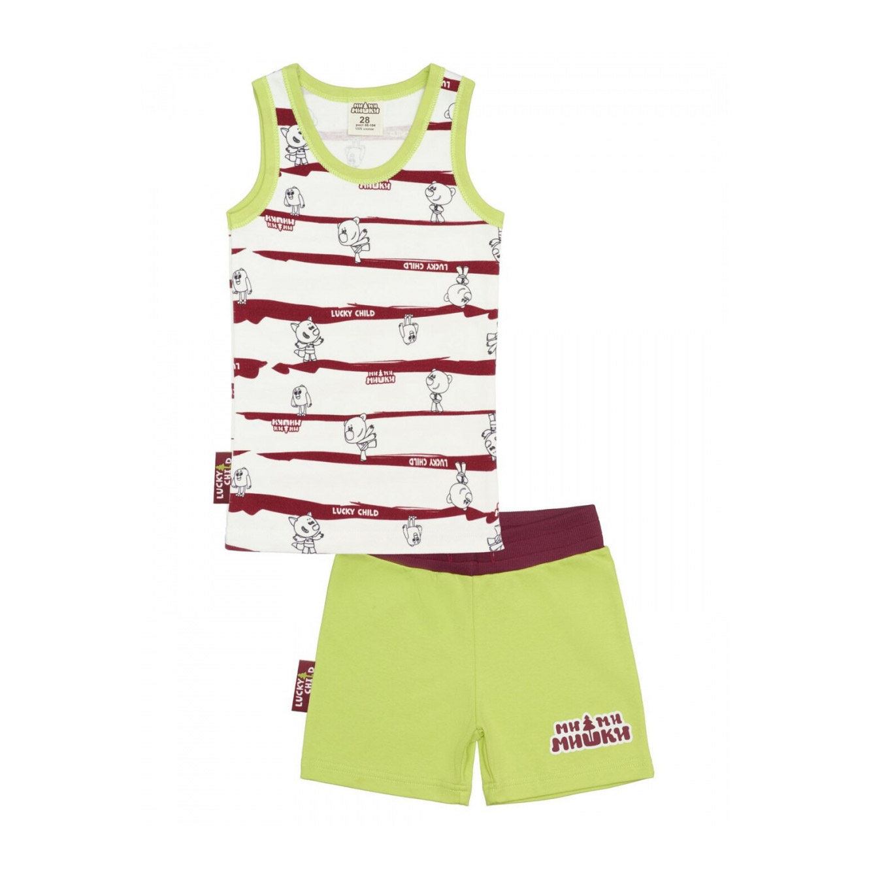 Купить Пижама с шортами Lucky Child МИ-МИ-МИШКИ полосатая 128-134, Разноцветный, Интерлок, Для мальчиков, Всесезонный,