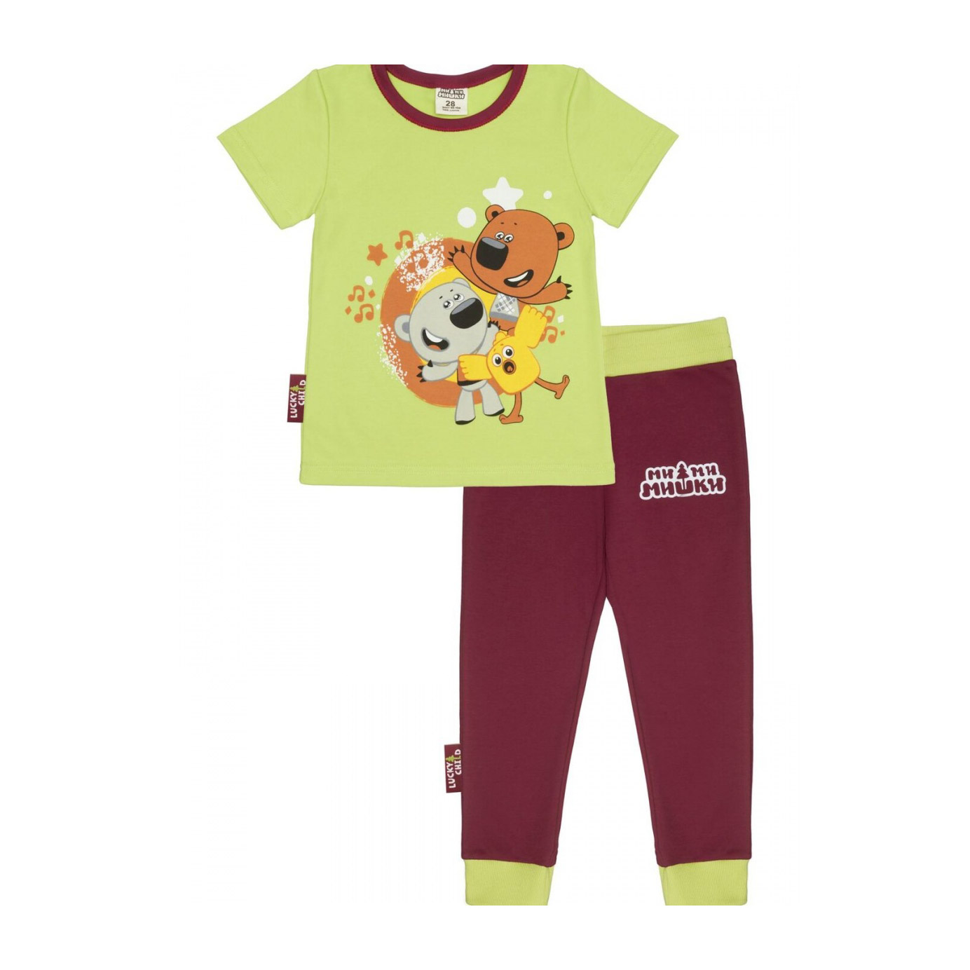 Фото - Пижама Lucky Child с брюками МИ-МИ-МИШКИ зеленая 92-98 пижама lucky child размер 28 92 98 полосатый
