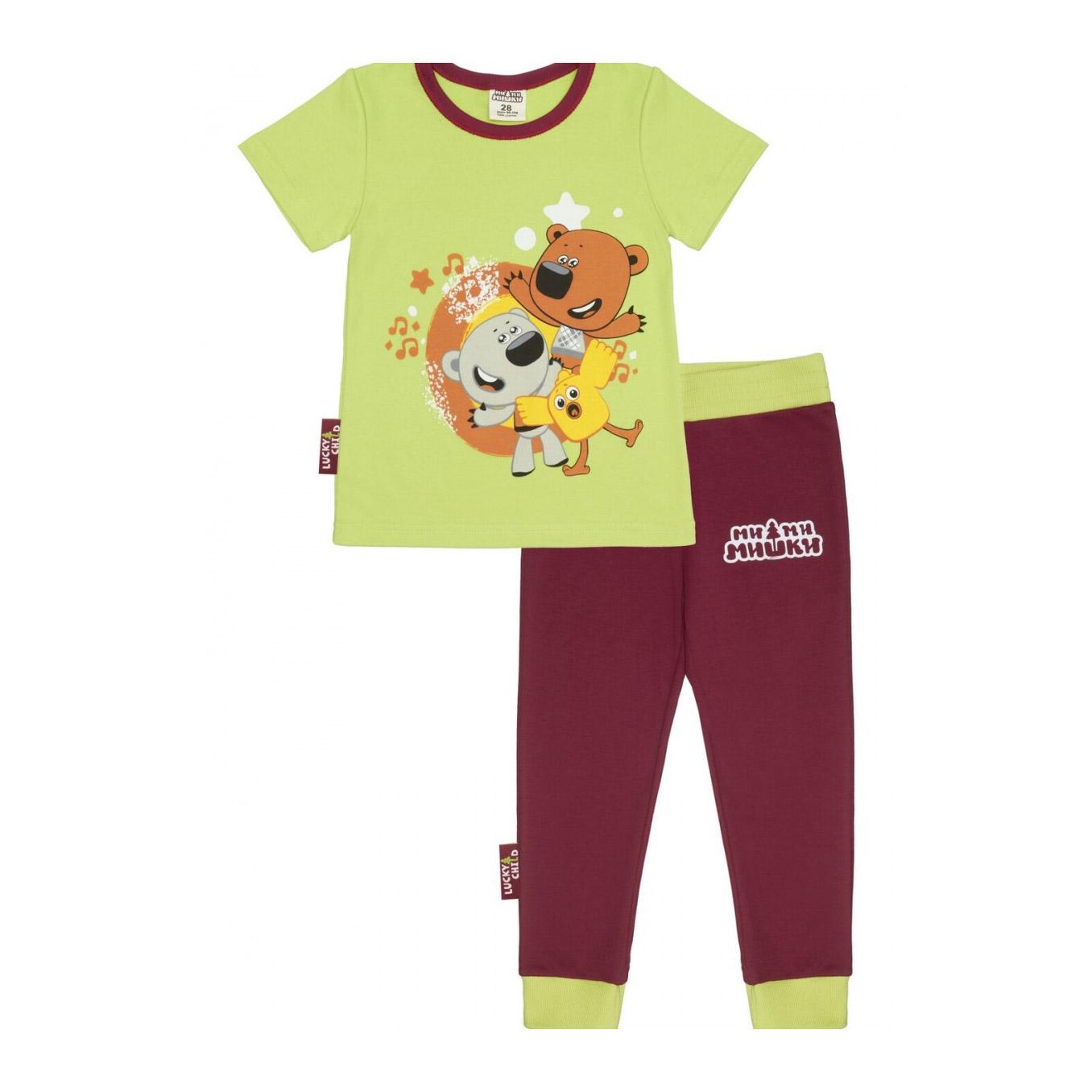Купить Пижама Lucky Child с брюками МИ-МИ-МИШКИ зелёная 116-122, Зеленый, Интерлок, Для мальчиков, Всесезонный,