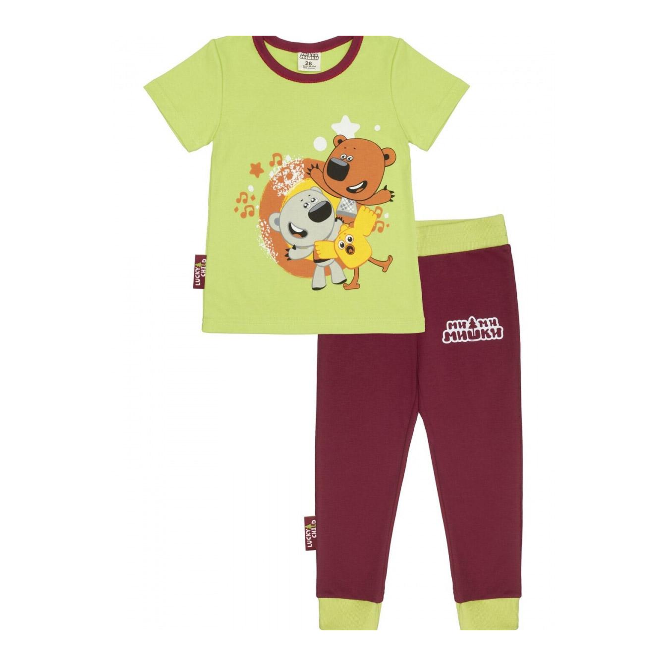 Купить Пижама Lucky Child МИ-МИ-МИШКИ зелёная 128-134, Зеленый, Интерлок, Для мальчиков, Всесезонный,