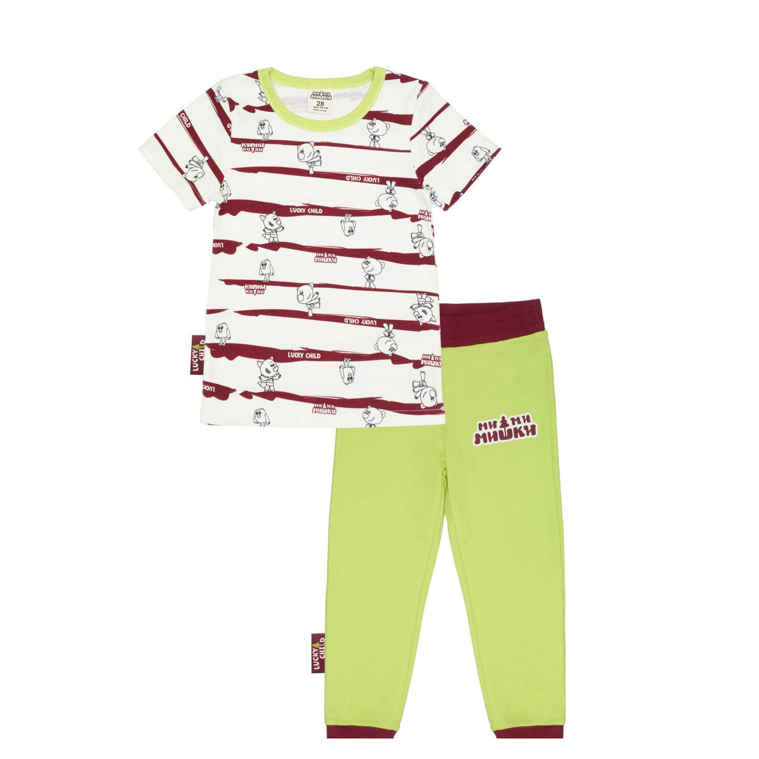 Фото - Пижама Lucky Child с брюками МИ-МИ-МИШКИ полосатая 92-98 пижама lucky child размер 28 92 98 полосатый