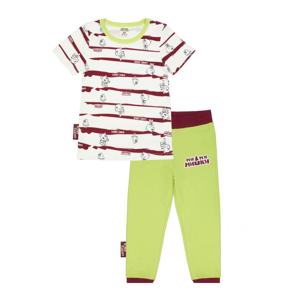 Купить Пижама Lucky Child с брюками МИ-МИ-МИШКИ полосатая 104-110, Разноцветный, Интерлок, Для мальчиков, Всесезонный,