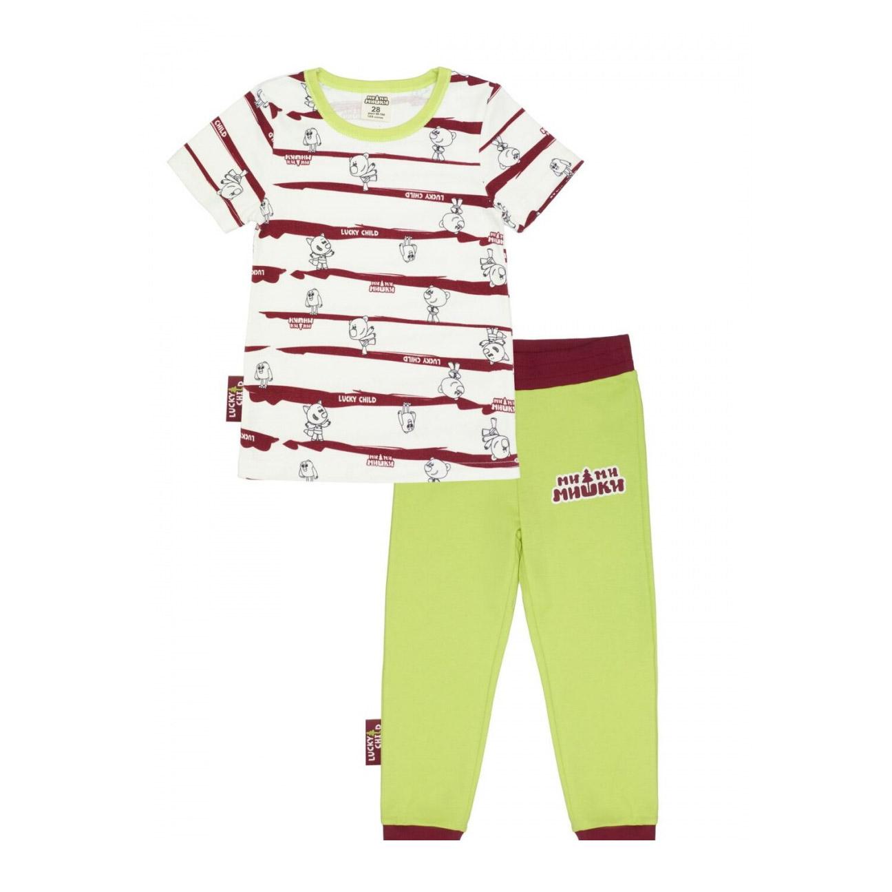 Купить Пижама Lucky Child с брюками МИ-МИ-МИШКИ полосатая 122-128, Разноцветный, Интерлок, Для мальчиков, Всесезонный,
