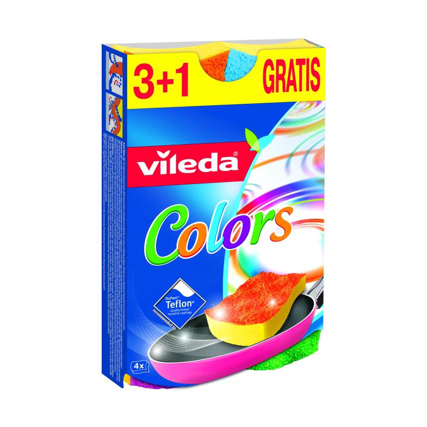 губка металлическая фэйт корнет 3 цвет серый 3 шт Губка Vileda Пур Колорс 3+1 шт
