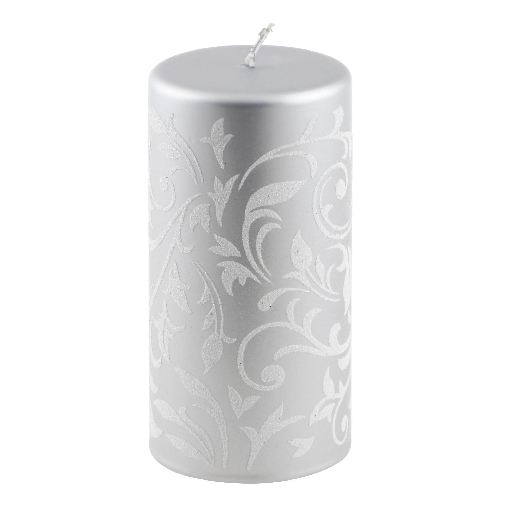 Свеча декоративная Kaemingk 7.3х14.3см серебряная фото