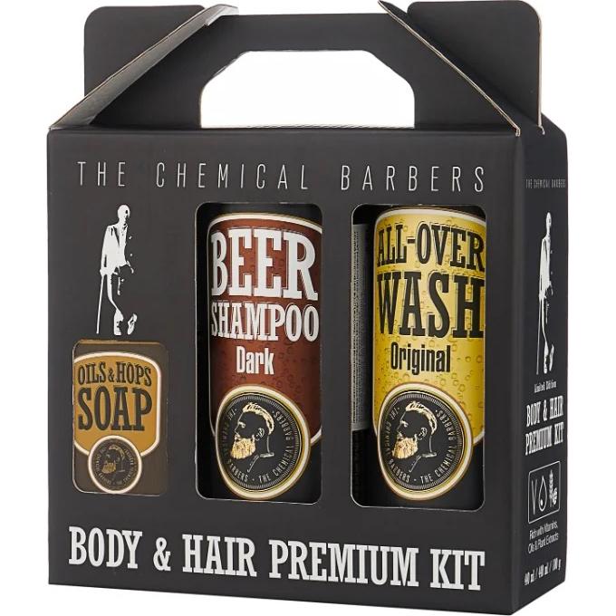 Подарочный набор The Chemical Barbers Восстанавливающий Шампунь для волос с аргановым маслом + очищающее средство для лица, тела и волос + мыло ручной работы 2x440 мл + 100 г фото