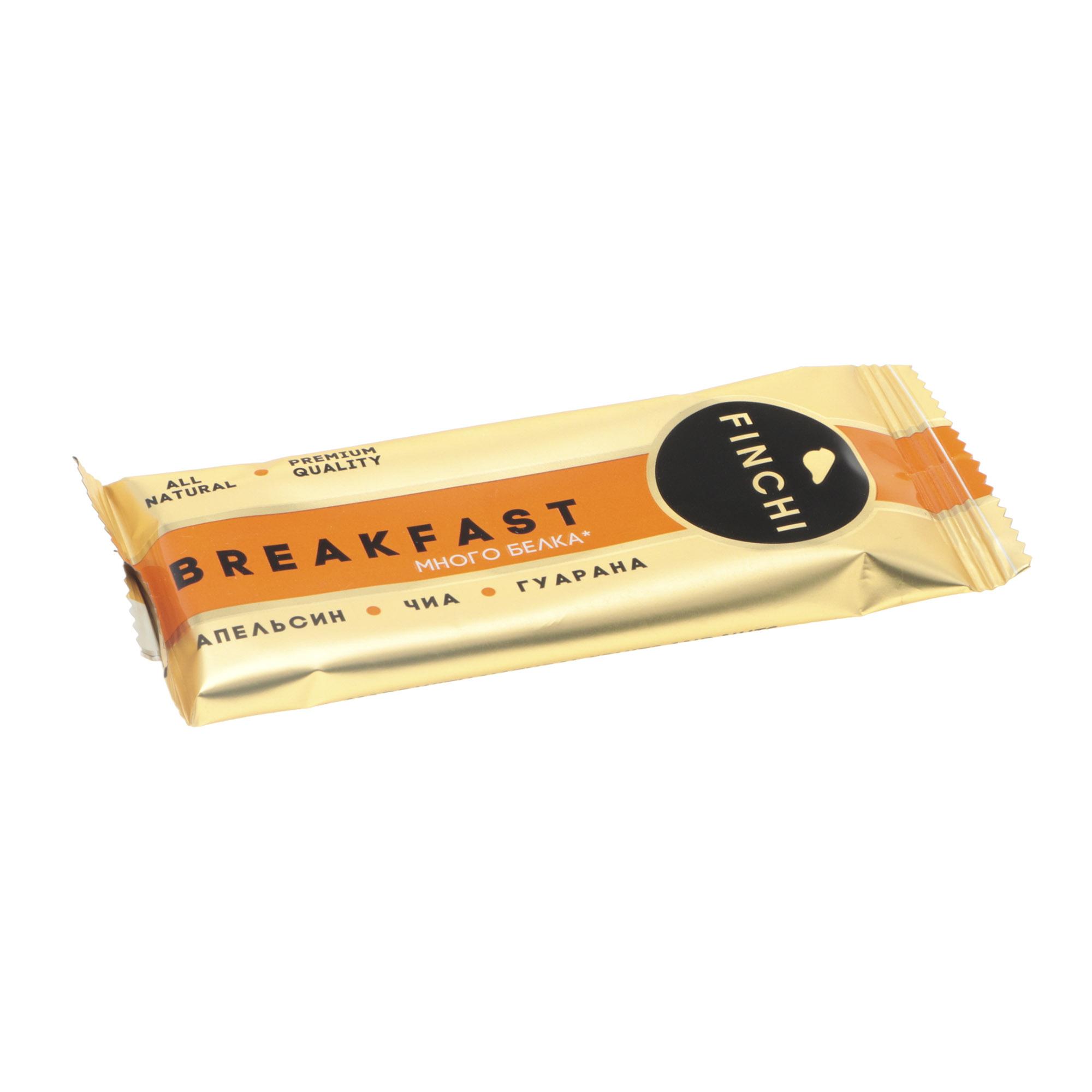 Батончик Finchi Breakfast апельсин, чиа, гуарана, 47 г батончик finchi tonus какао клюква гуарана 47 г