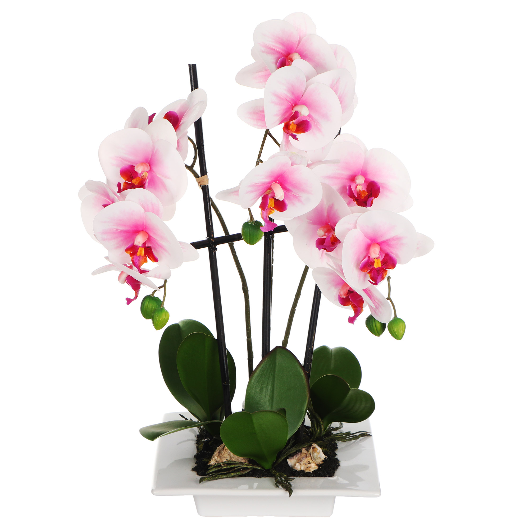 Цветок искусственный Dpi Фаленопсис в горшке 46cm розово-белый