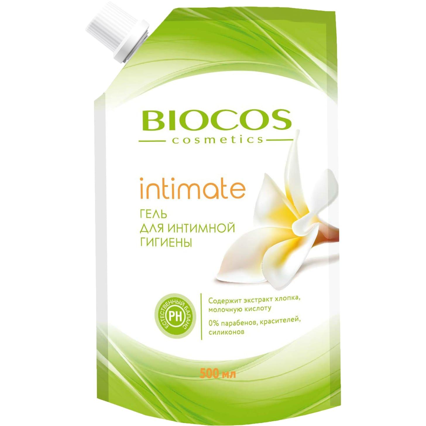 Фото - Гель для интимной гигиены BioCos intimate с экстрактом хлопка и молочной кислотой 500 мл гипоаллергенная мусс пенка для интимной гигиены свежесть и комфорт с молочной кислотой