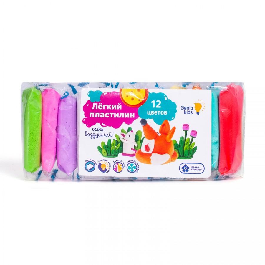 Купить Набор для лепки Genio Kids-Art Лёгкий пластилин 12 цветов, набор для лепки, полимер, антислеживающий агент, загуститель, пластификатор, вода, консервант, краситель