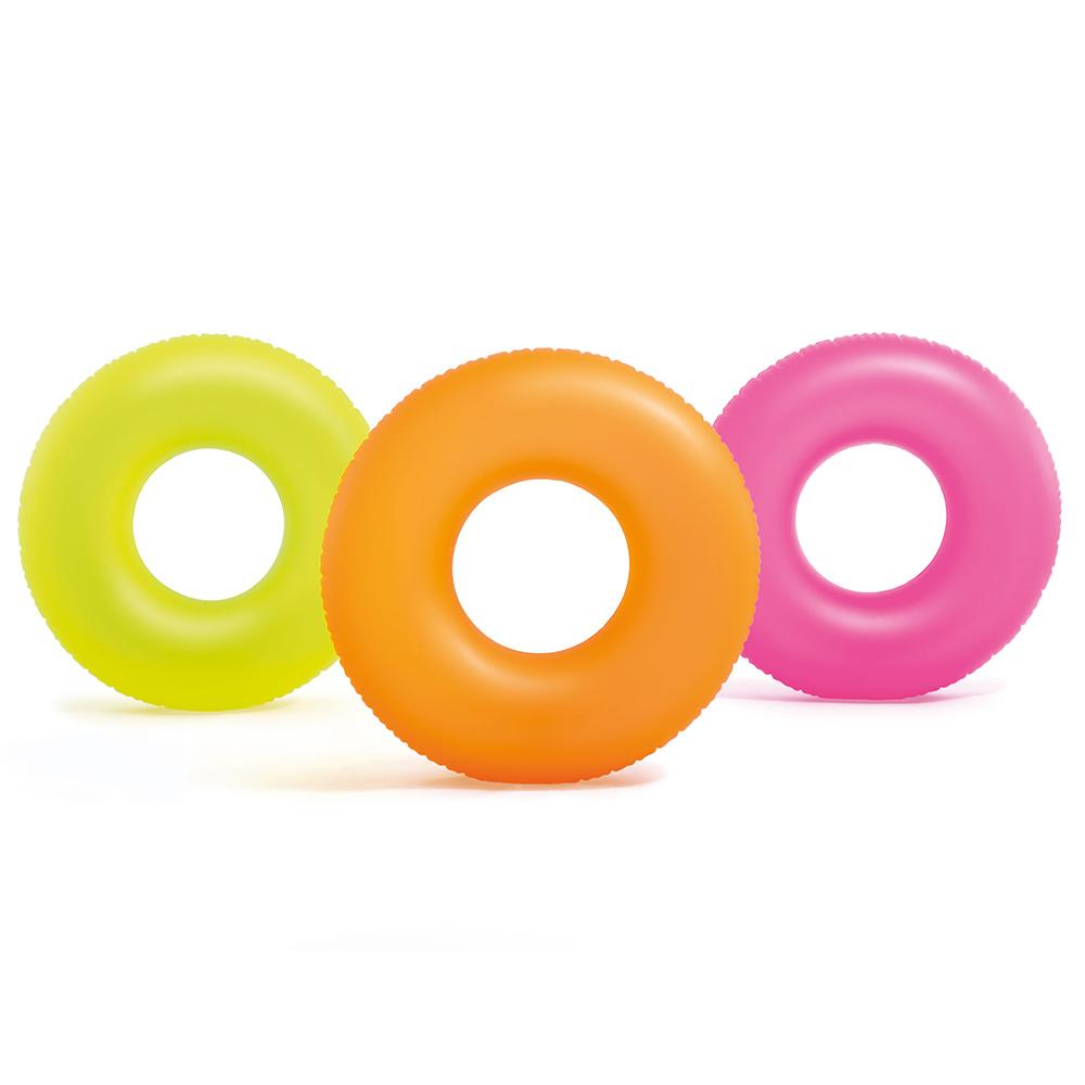 Неоновый надувной круг Intex