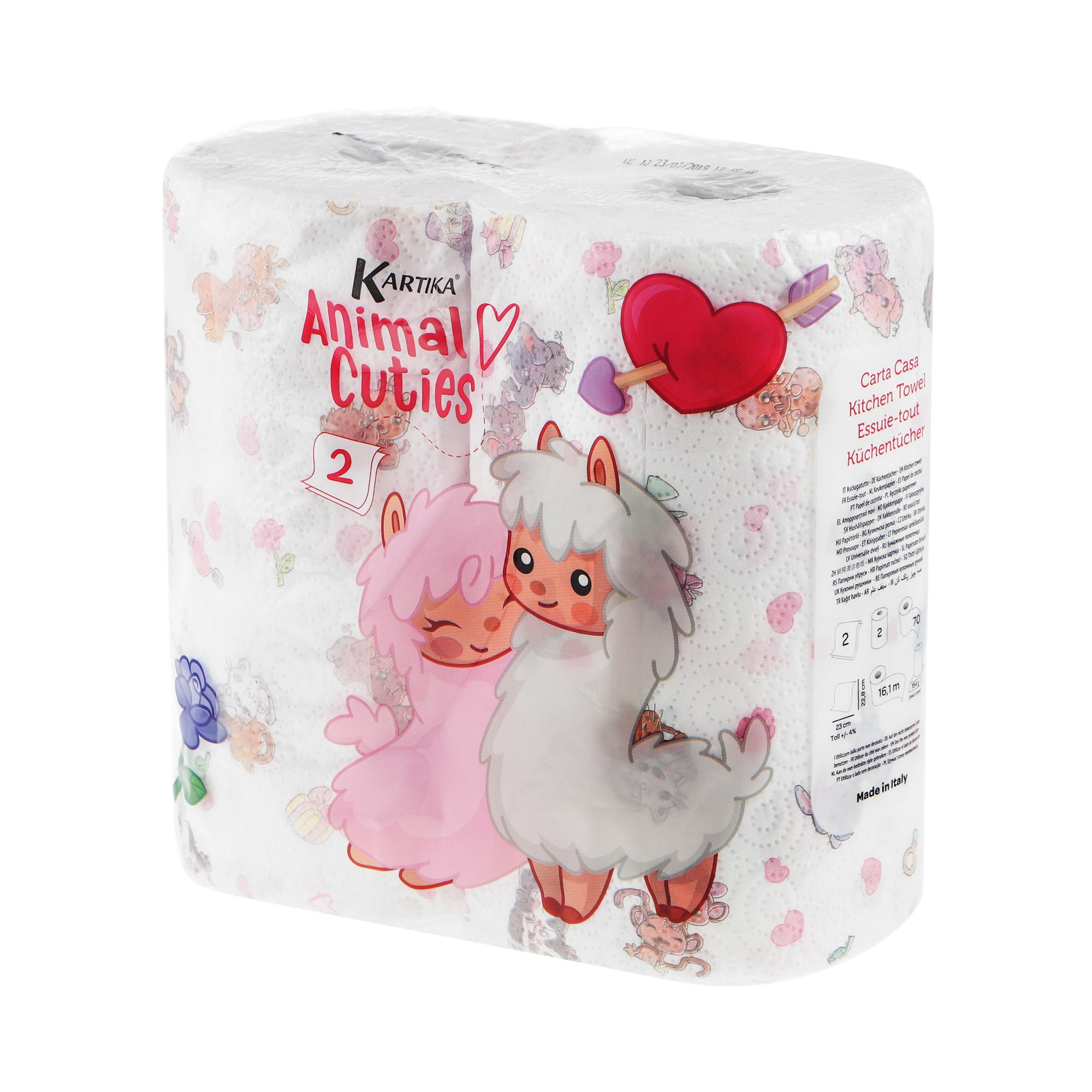 Полотенце кухонное World cart animal cuties 2 слоя руллона