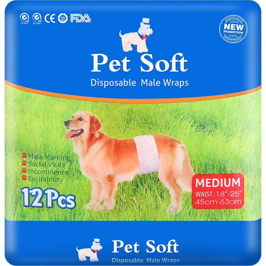 Пояса для кобелей Pet Soft Male Diaper Впитывающие Размер M 12 шт
