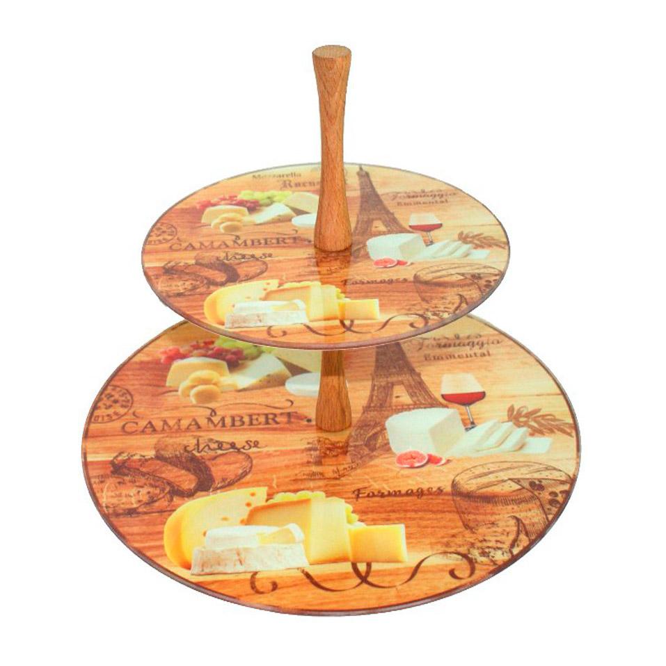 Этажерка Vellarti 2-ух ярусная плоская Сыр. Париж 20 см/30 см фото