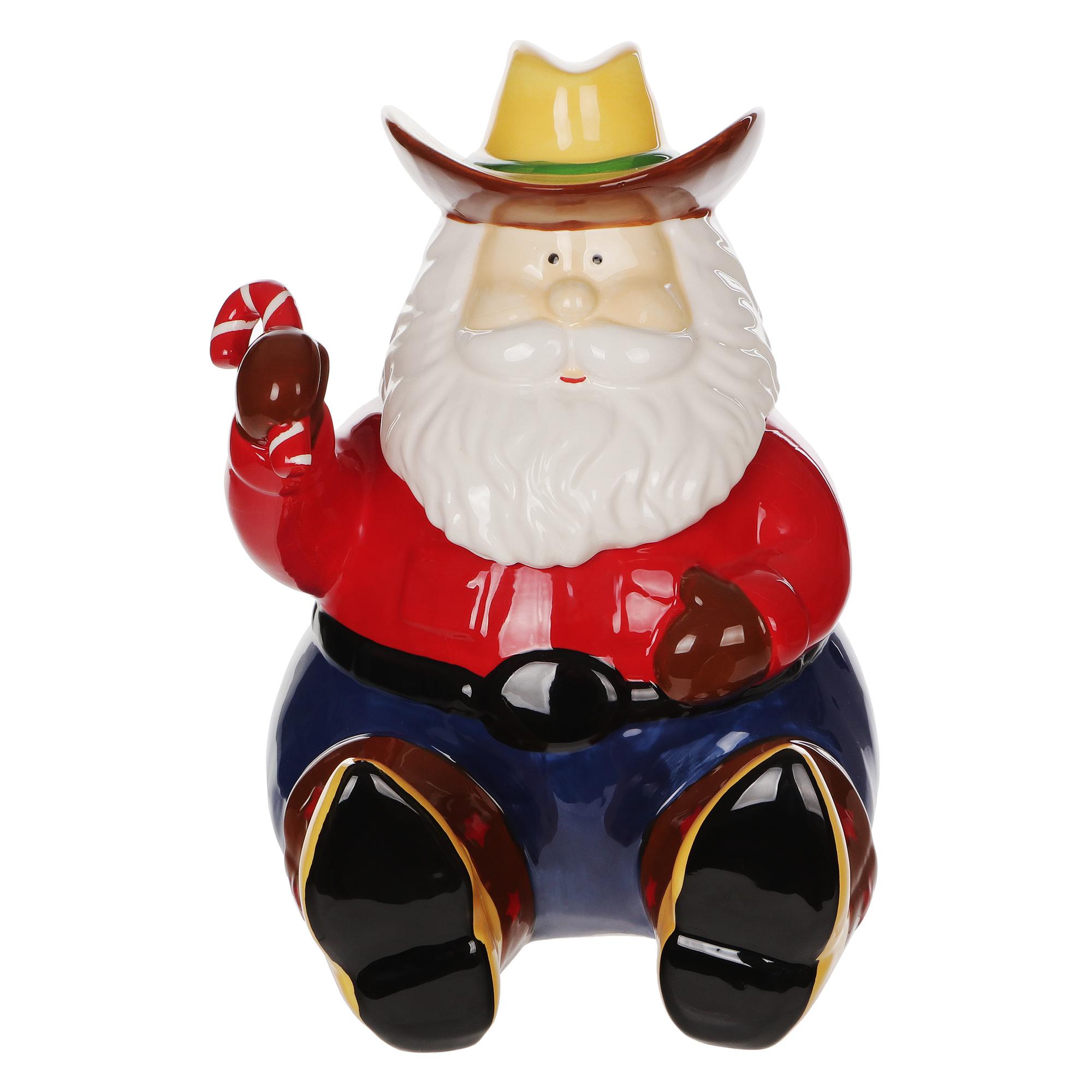 Купить Банка для печенья Tss Санта 21х20х25, красный, синий, керамика