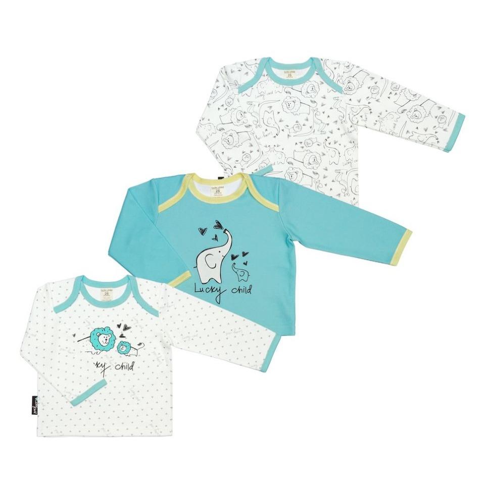 Купить Комплект кофточек Lucky Child Зоопарк 86-92, Белый, Бирюзовый, Интерлок, Для детей, Всесезонный,