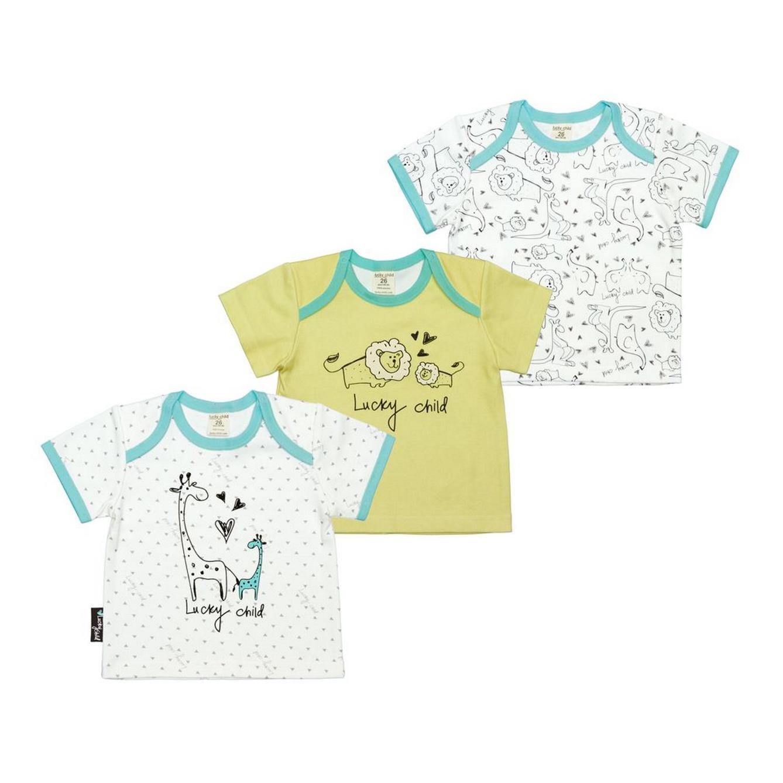 Купить Комплект распашонок Lucky Child Зоопарк 3 шт 86-92, Белый, Бирюзовый, Желтый, Интерлок, Для детей, Всесезонный,