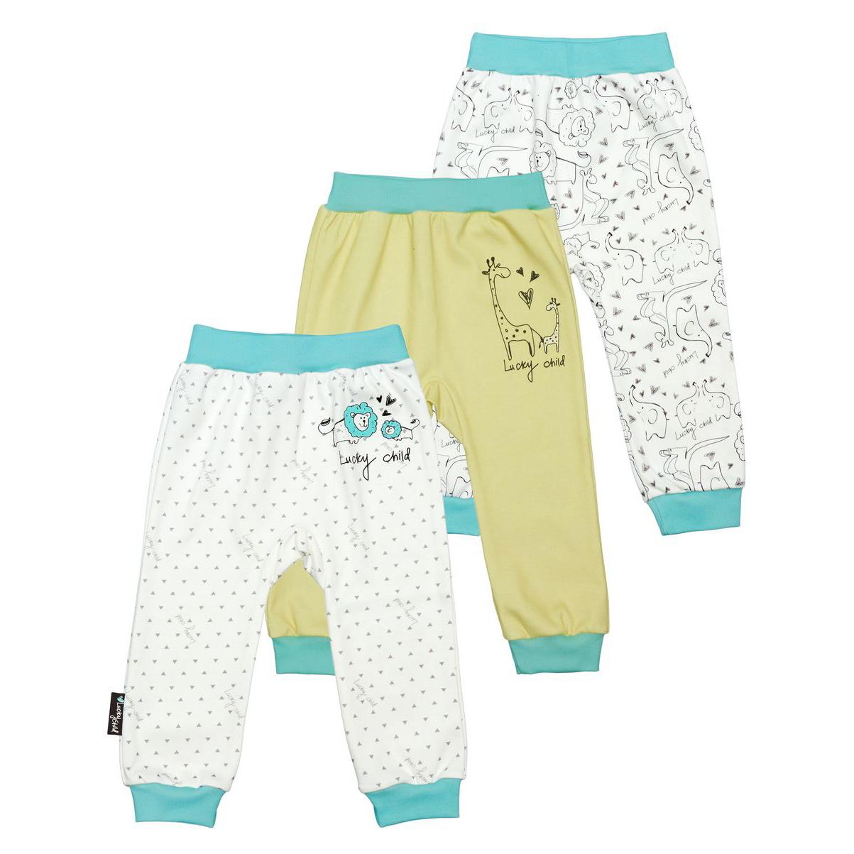 Купить Комплект штанишек Lucky Child Зоопарк 3 шт 92-98, Белый, Бирюзовый, Желтый, Интерлок, Для детей, Всесезонный,