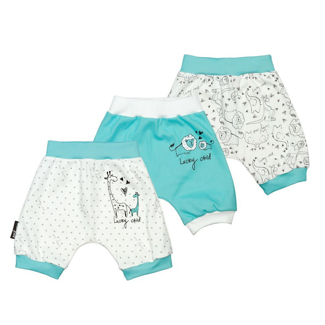 Купить Комплект шортов Lucky Child Зоопарк 3 шт 92-98, Белый, Бирюзовый, Интерлок, Для детей, Всесезонный,