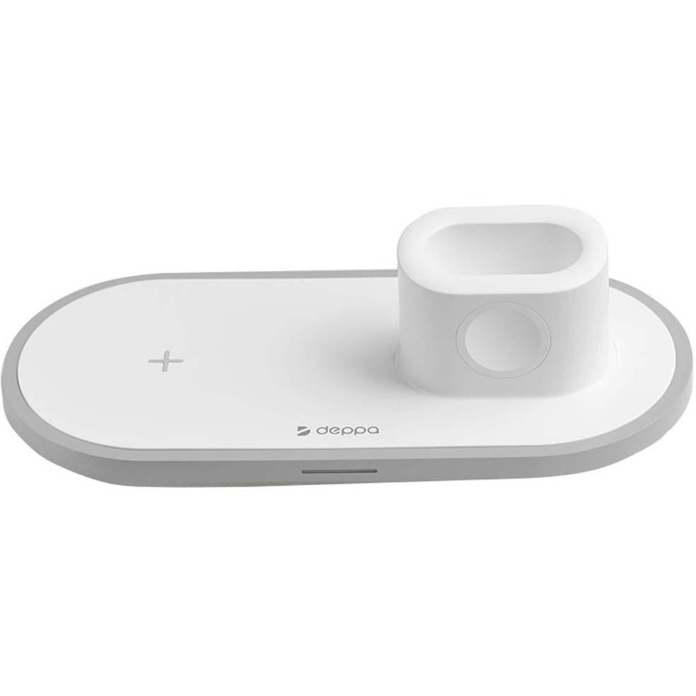 Фото - Беспроводная зарядная станция Deppa 3 в 1 для IPhone, Apple Watch, Airpods белая 24006 защитное стекло simolina для apple watch iwatch42мм 42 мм 1 шт
