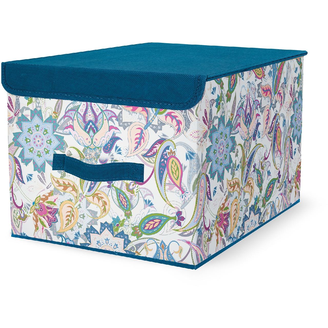 Кофр для хранения Hausmann 30х40х25 см, синий/принт hausmann кофр для хранения hm 6a 202 60x45x30 см серый
