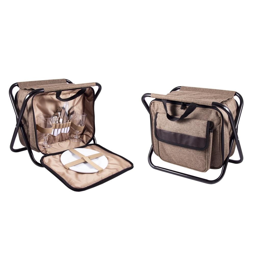 Набор для пикника Русские подарки на 2персоны в сумке-стульчике 33х23х25 см