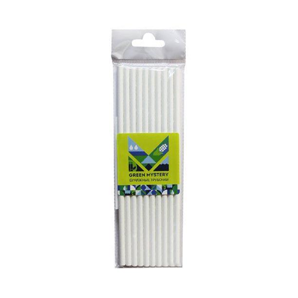 Трубочки бумажные Green mystery White 10 шт