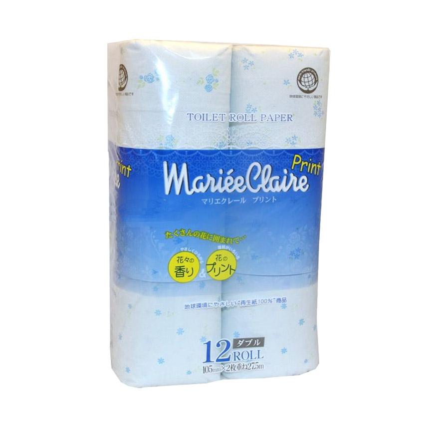 Бумага туалетная Ideshigyo Mariee Claire голубая 12 рулонов бумага туалетная ideshigyo персик и нектарин 12 рулонов