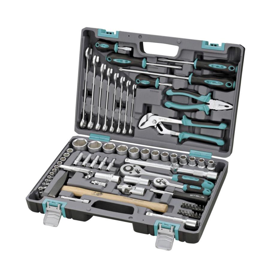 Набор инструментов Stels 76 предметов 1/2 1/4 CrV набор инструментов stels 58 предметов 14113