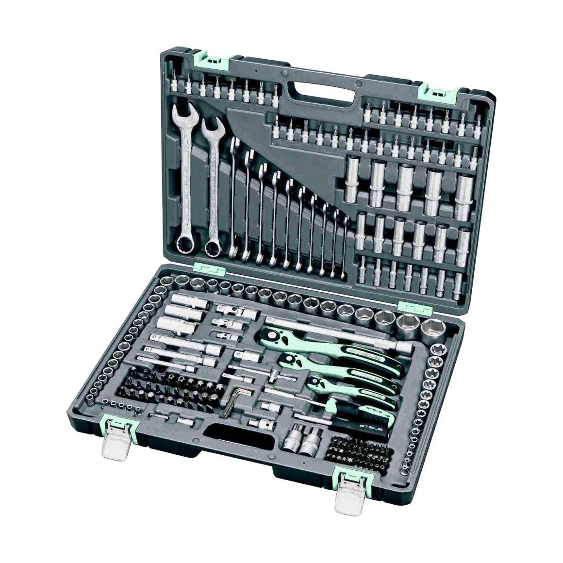 Набор инструментов Stels 216 предметов 1/4 3/8 1/2 Cr-V S2 набор инструментов stels 58 предметов 14113