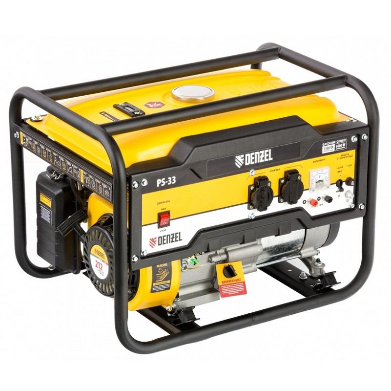 Генератор бензиновый Denzel PS 33 3,3 кВт 230 В 15 л