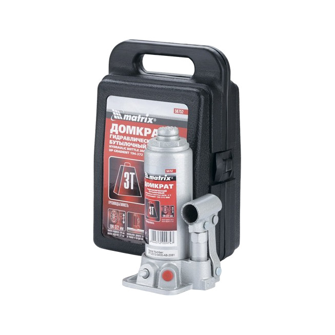 Домкрат гидравлический бутылочный Matrix 3 т h подъема 194–372мм в пластиковом кейсе домкрат сорокин 3 148