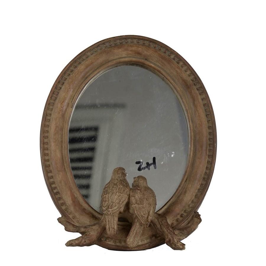 Фото - Зеркало Glasar овальное настольное в винтажном стиле с птичками у основания 19x24x4 см столик приставной glasar серебристого цвета с золотыми птичками на ветке 43x43x71 см