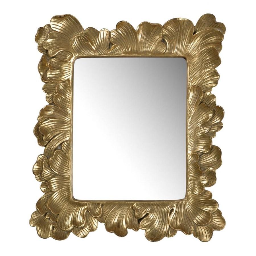 Зеркало Glasar прямоугольное настенное с золотистой окантовкой в виде лепестков 32x4x38 см фото