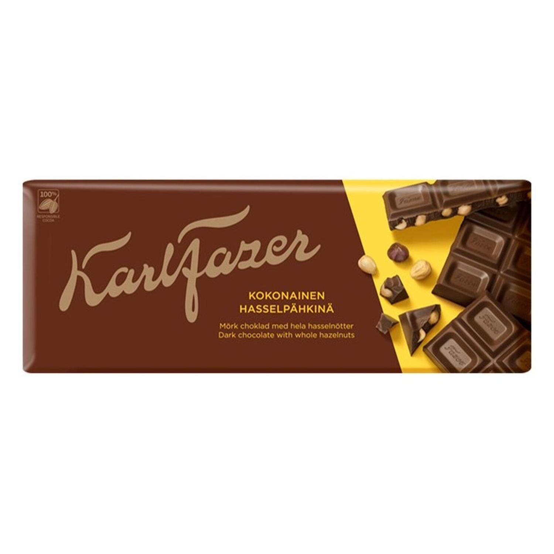 Шоколад темный Karl Fazer с цельным фундуком 200 г